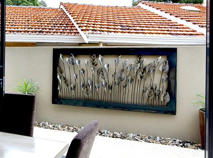 Great idea for my block walls. | Large outdoor wall art ...