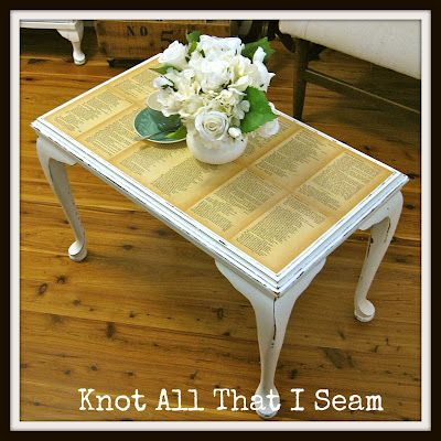 Love this book-page table re-do from Knot All That I Seam blog
