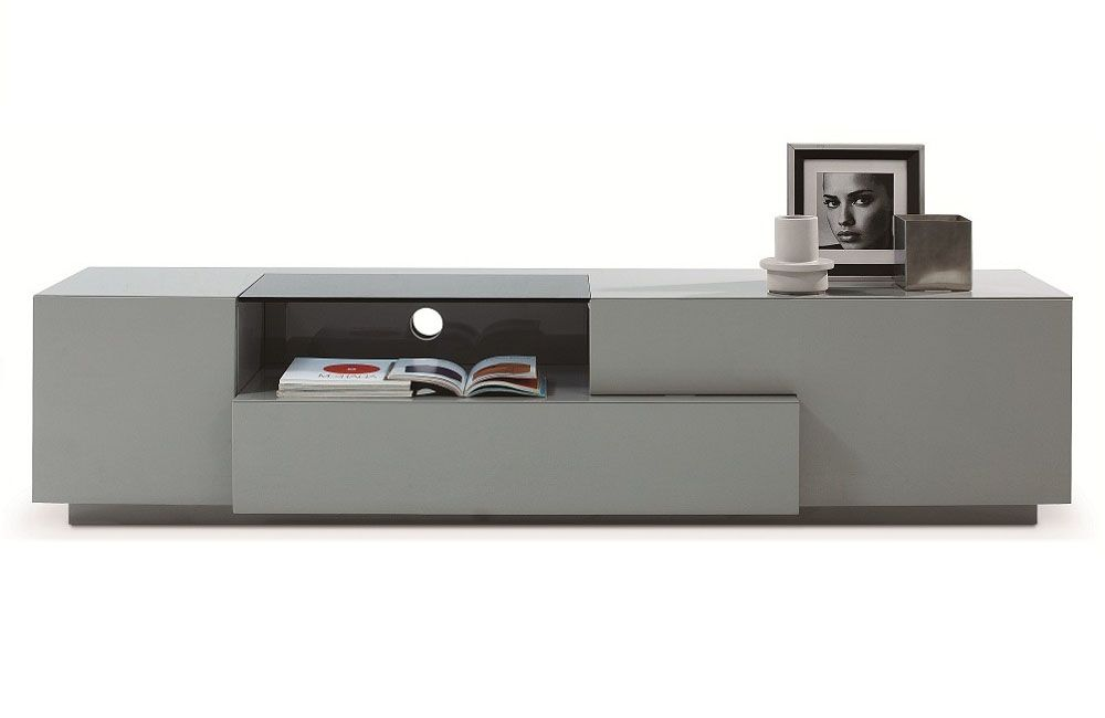 Grey finish modern functional entertainment tv stand chula for Contemporary tv media units