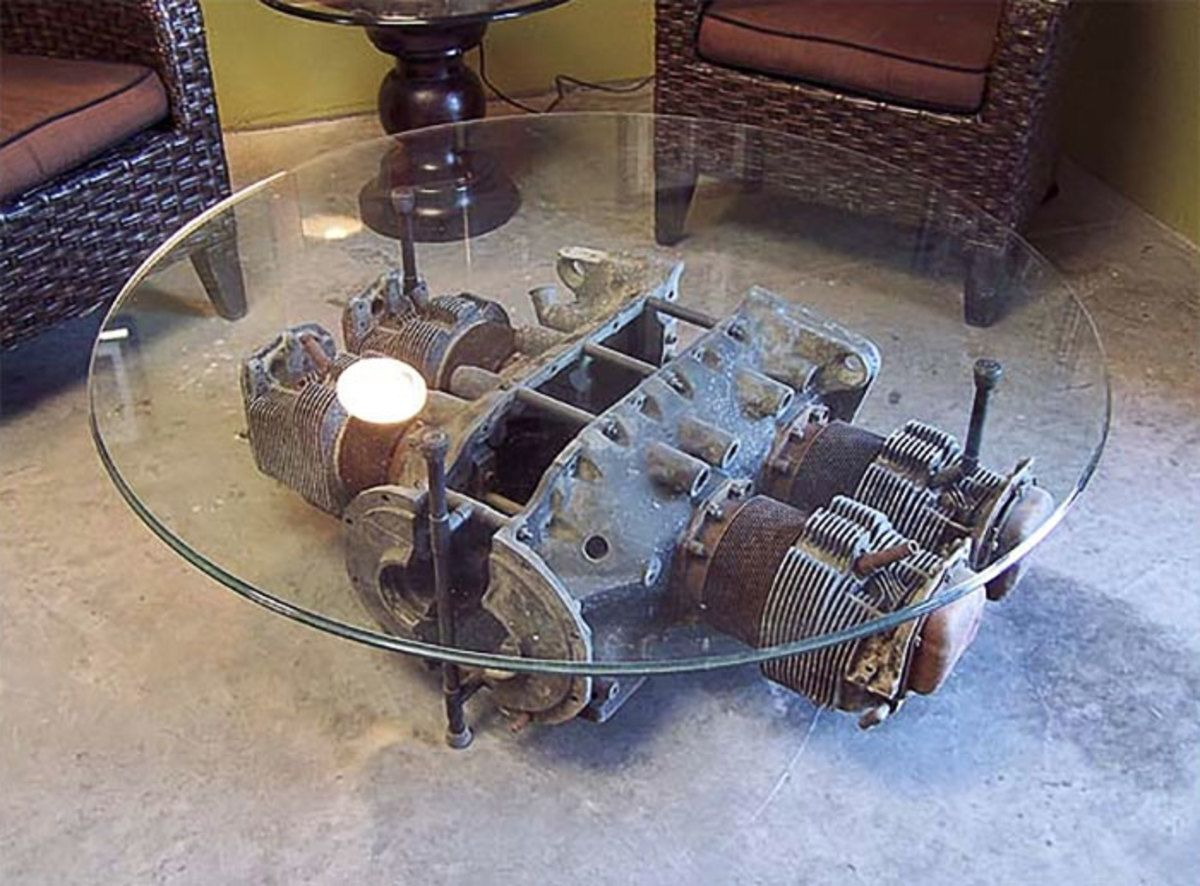 20 Pieces Of Furniture Expertly Made From Old Airplane Parts Engine Coffee Table Man Cave Furniture Aviation Furniture [ 886 x 1200 Pixel ]