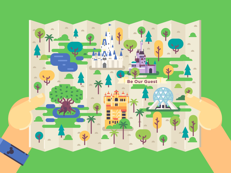 Disney world map illustrations map illustrations and flat design disney world map gumiabroncs Image collections