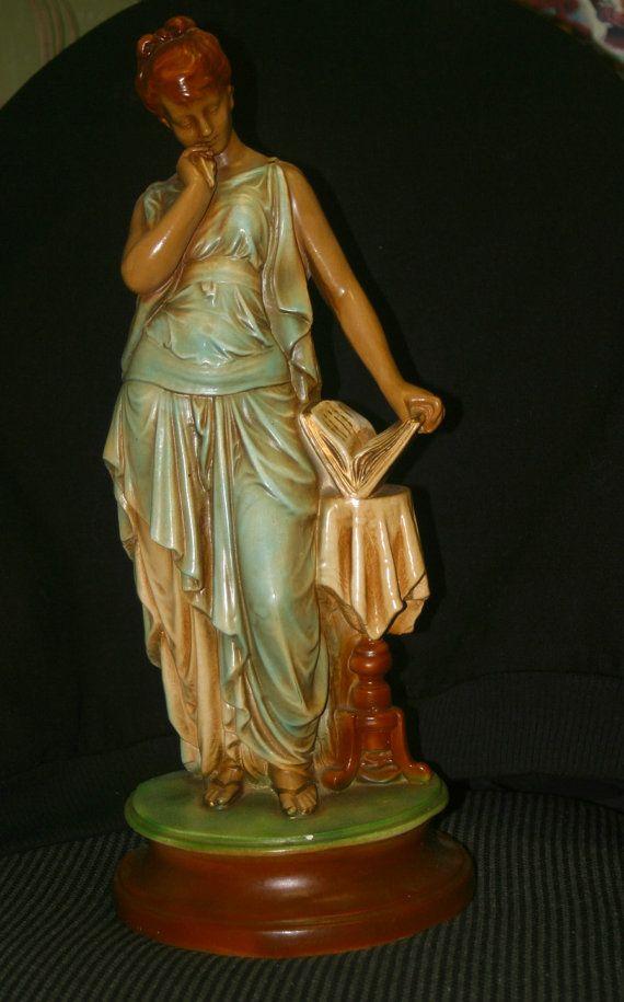 2 Fantastic Art Noveau Era Ceramic Goddess Sculptures by Borealman, $165.00