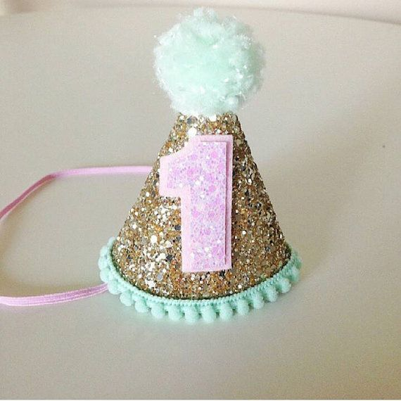 Party Hat Gold Pink and Mint First Birthday Glitter Party Hat