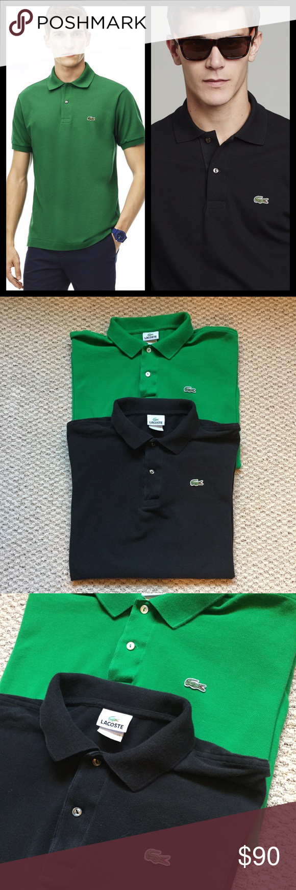 34a088f4 BUNDLE OF 2 Men's Lacoste Classic Polo Shirts 7/XL Lacoste timeless pique  knit polo