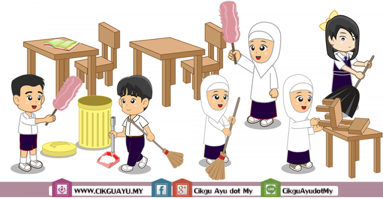 Kartun Tugasan Kebersihan dan Keceriaan Kelas Cikgu Ayu