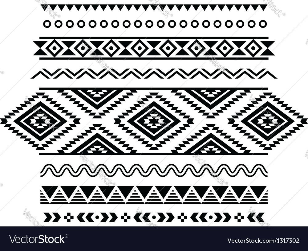 46f6b0b151426 Tribal seamless pattern aztec black and white Vector Image by RedKoala