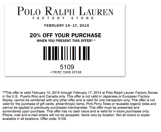 Ralph Lauren has Extra 30% Off Sale on select sale and full-price styles via code Show Code