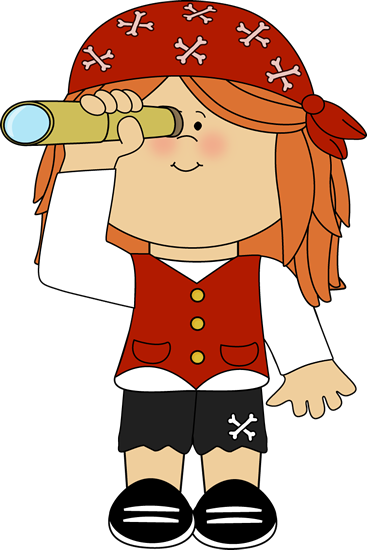 Image: Pirate girl with telescope.
