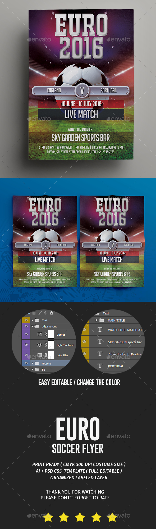Amazing Psd Euro Soccer Flyer Template  Only Available Here
