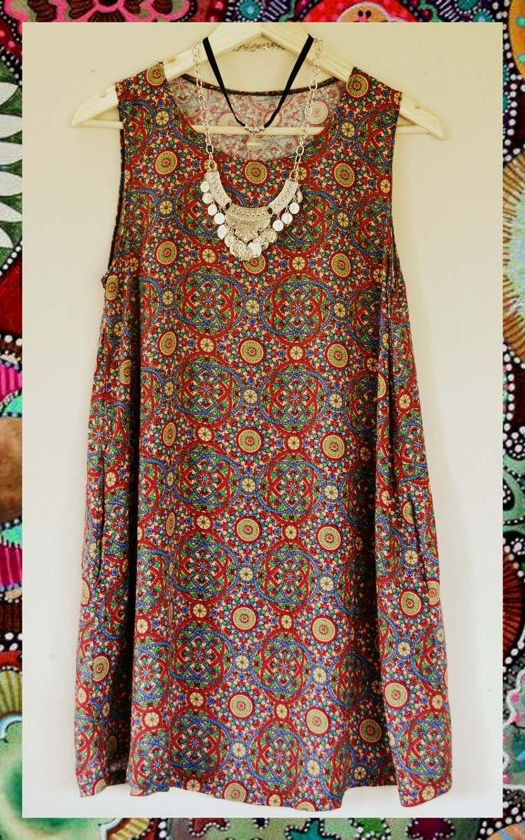 4f8c70c55 Vestido Musculosa Estampado Hippie Boho Tipo Rapsodia - $ 550,00 en ...