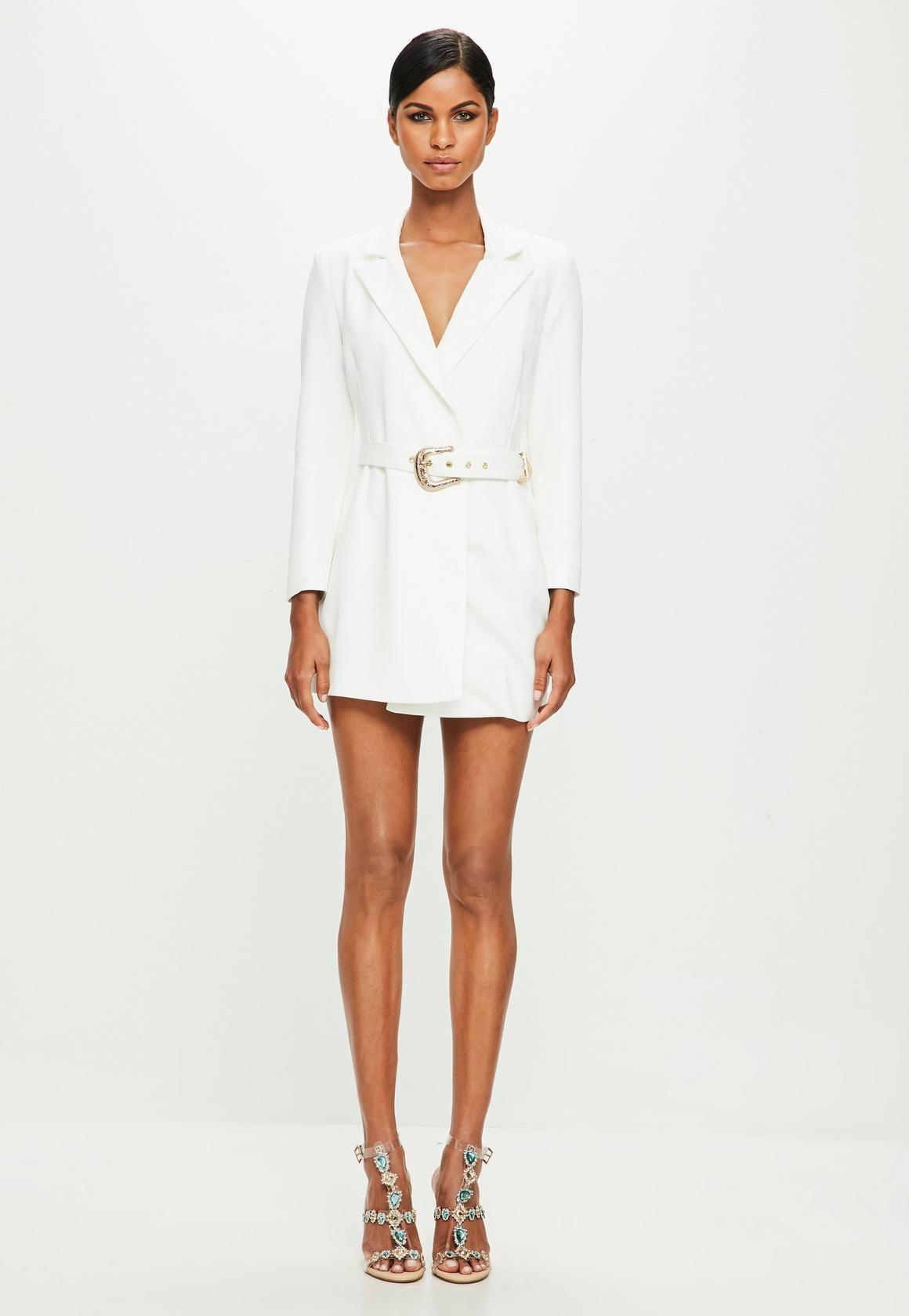 1e958e7f0b1 Missguided - Peace Love White Belted Blazer Dress