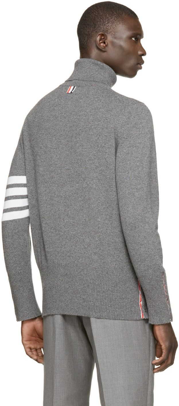 f896e5c155b5 Thom Browne Grey Striped Cashmere Turtleneck