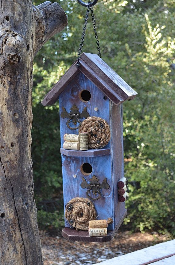 Double Rooms Grass Bird Nest House Feeder Birdhouse Hut Rustic Rope Hanging