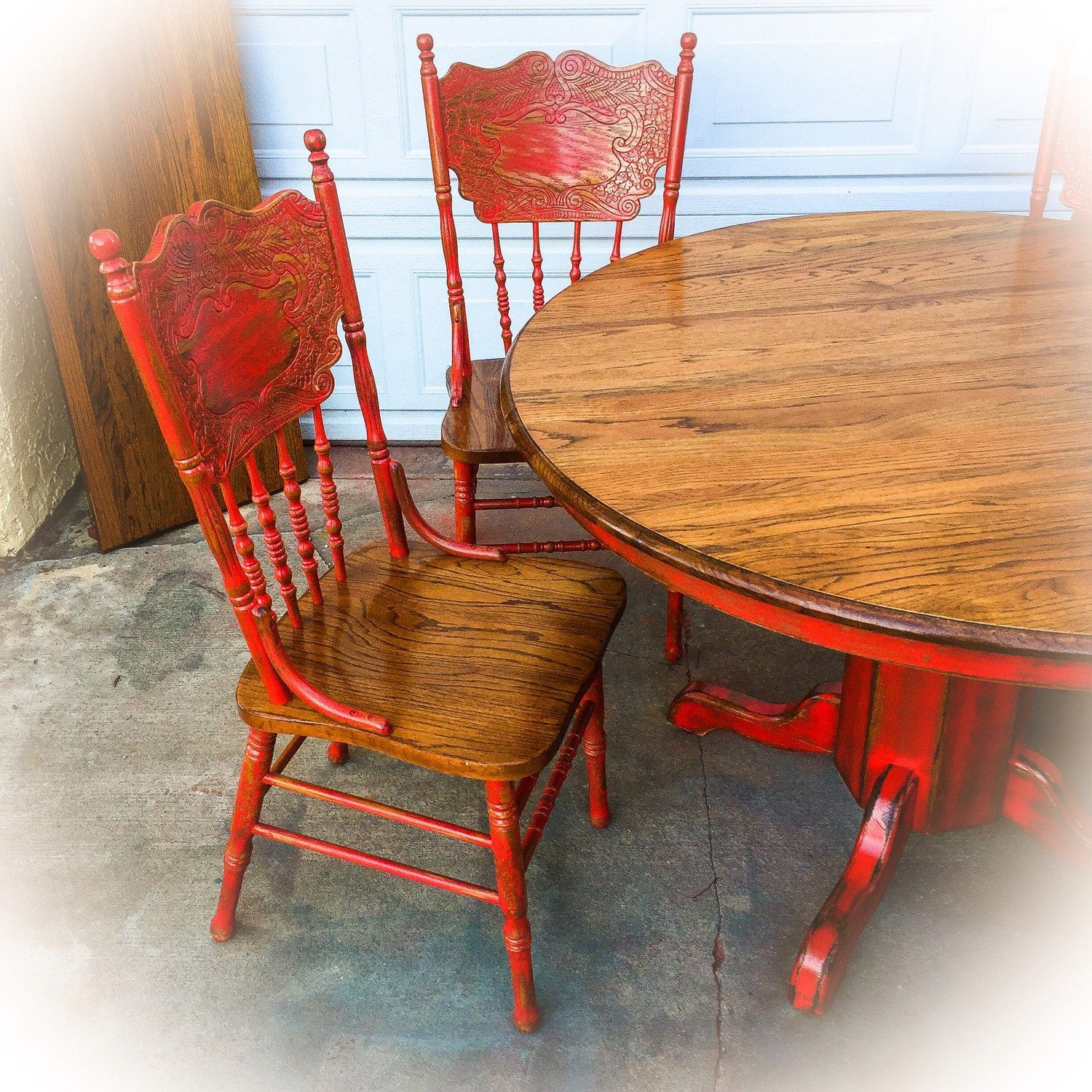 Farmhouse Kitchen Table And Chairs W Leaf Oak Dining Room Red Shabby Chic Set Round French Country