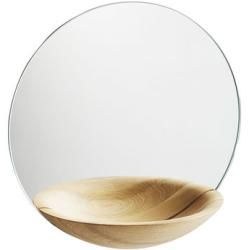Photo of Pocket Large wall mirror / with integrated shelf – Ø 32 cm – Woud – light oak WoudWoud