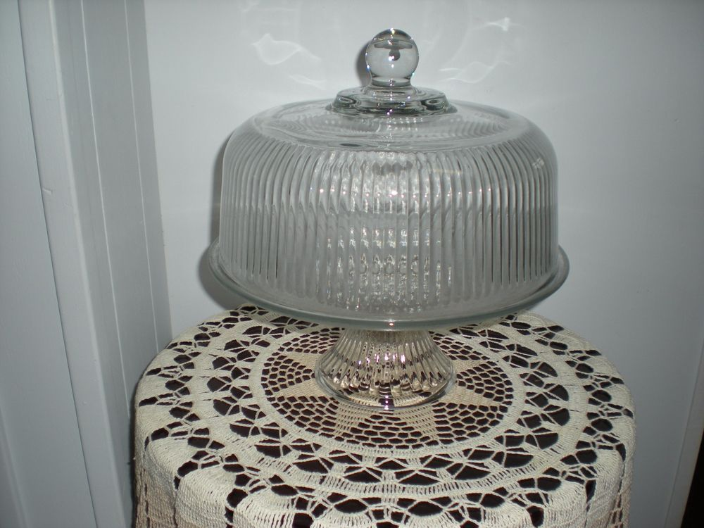 Crystal glass monaco ribbed cake stand dome w footed