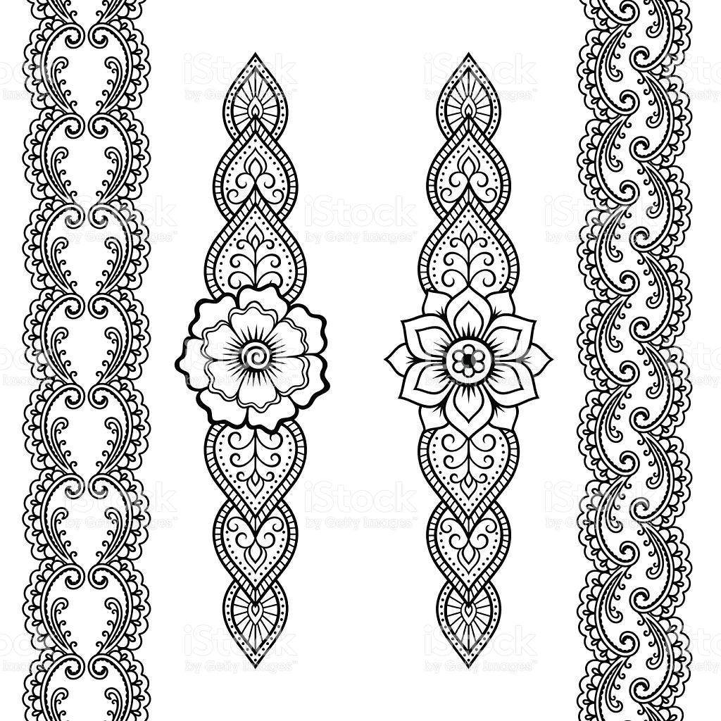 Set of seamless borders for design and application of