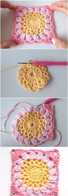 Crochet Granny Square Step By Step   granny frower squares ...