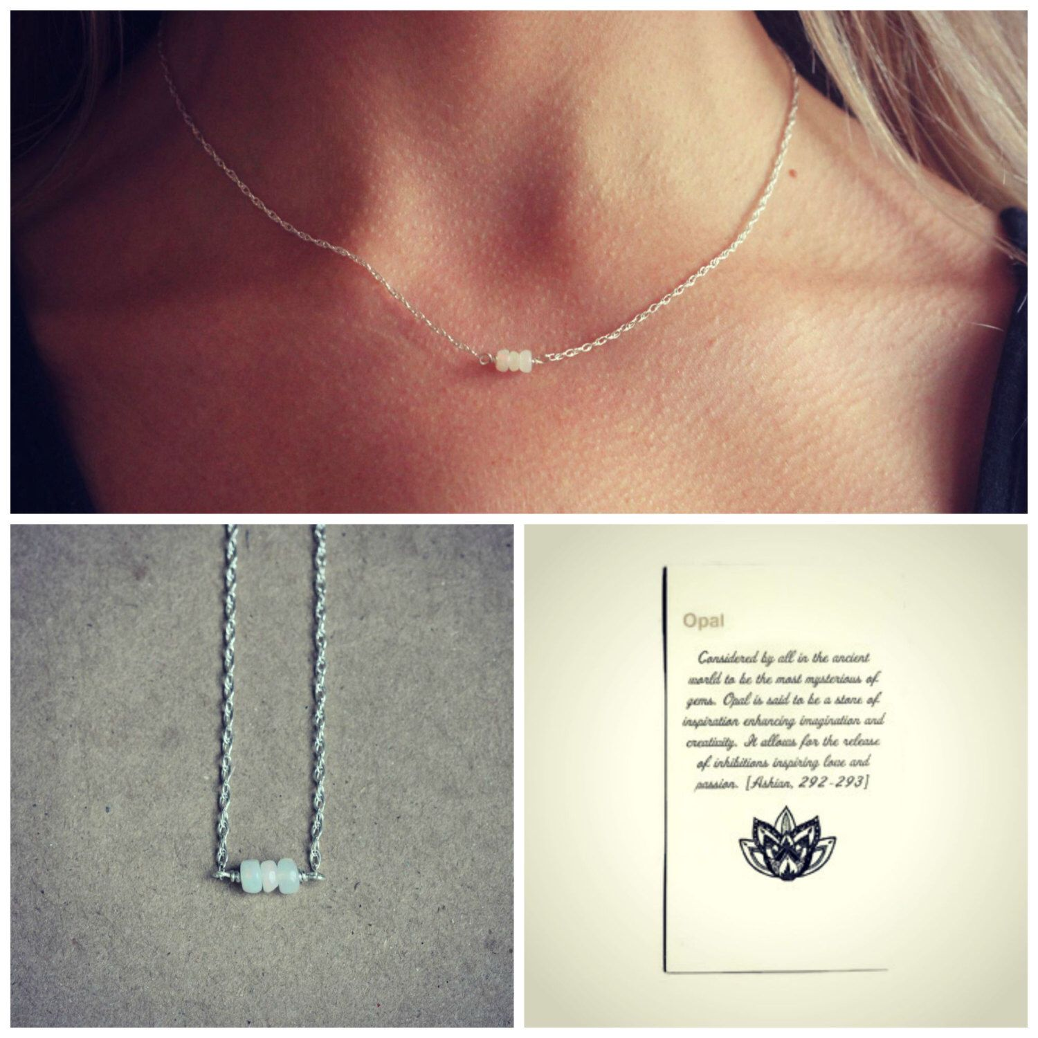 6c43b0676b6e0 Delicate Opal necklace, silver necklace, meaningful jewelry, best ...
