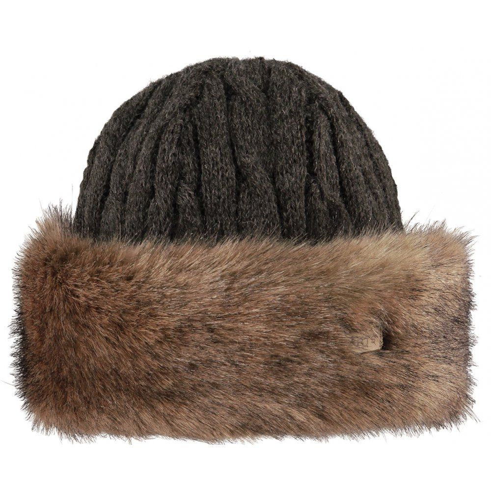 fbf359cae Barts Fur Cable Bandhat Ski Hat in Heather Brown | Women's Ski Hats ...