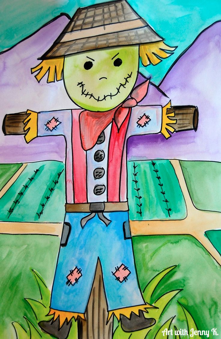 How to draw Thanksgiving pictures like a scarecrow, turkeys and ...