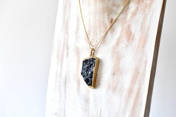 Gold Dipped Raw Black Tourmaline Pendant - Healing Gemstone Necklace - Protection Amulet with Gold BT410 #pictureplacemeant