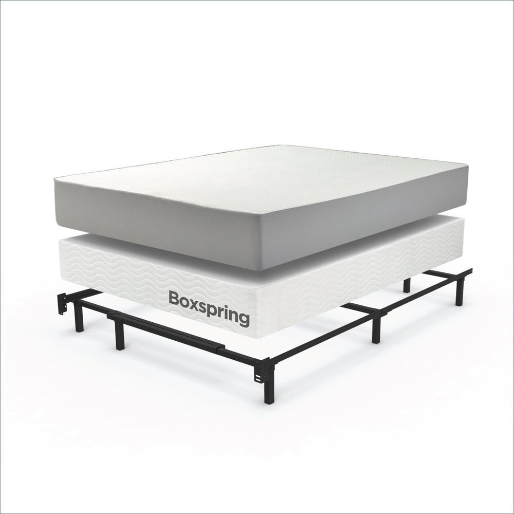 King Size Mattress Box Spring Metal Frame Bed Easy Assembly System