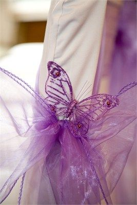 Purple Chair Sash With Butterfly Detail Wedding Ideas For