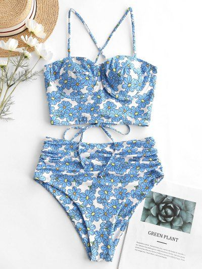 ZAFUL Floral Underwire Lace Up Tummy Control Tankini Swimsuit   MULTI-A – Swimsuit