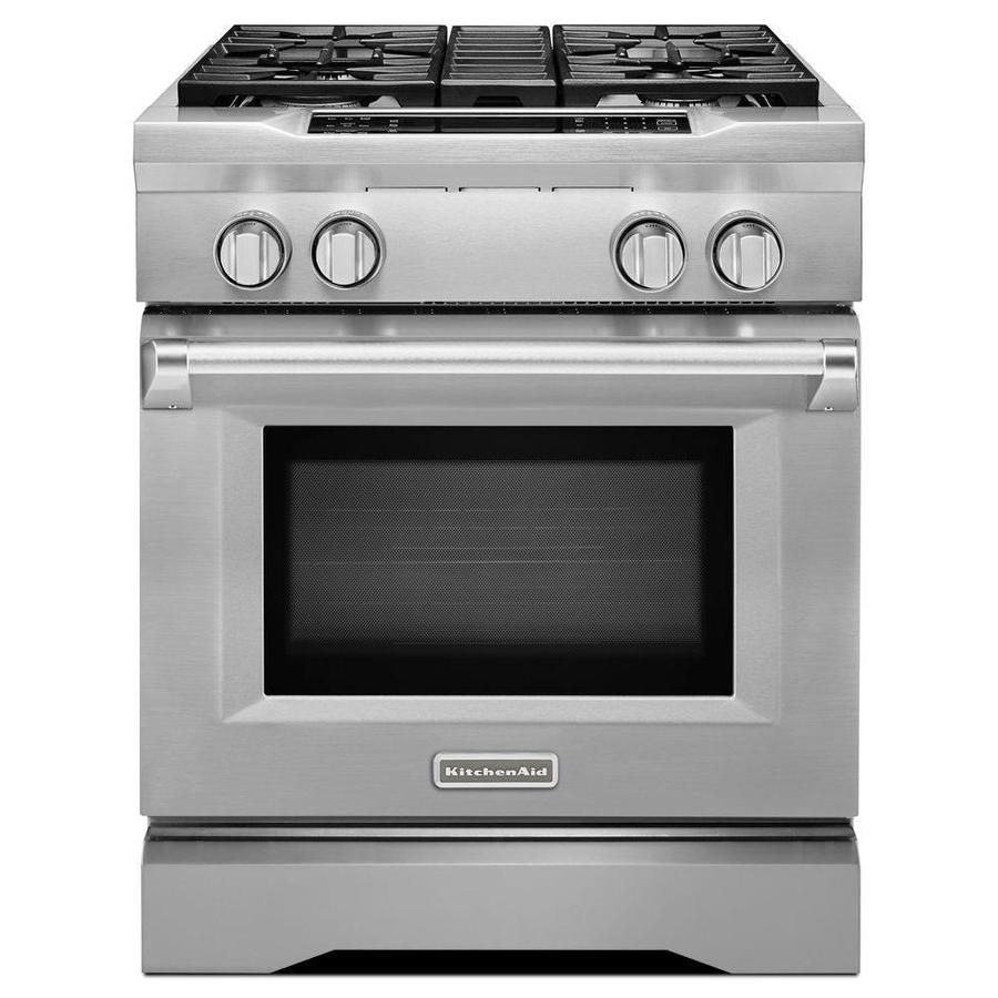 Kitchenaid Deep Recessed 4 Burner Self Cleaning Convection Single Oven Dual Fuel Range Stainless Steel Common Kitchen Aid Convection Range Dual Fuel Ranges
