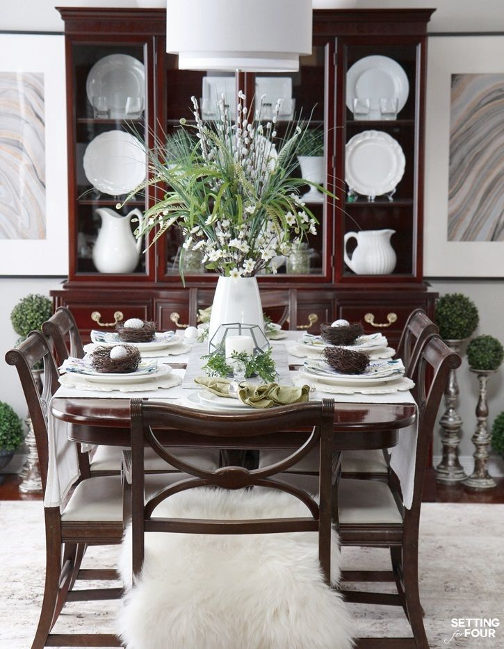 Beautiful Natural Table Setting For Spring Dining Room