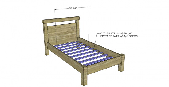 Free diy furniture plans to build a land of nod oak park for Simple twin bed frame