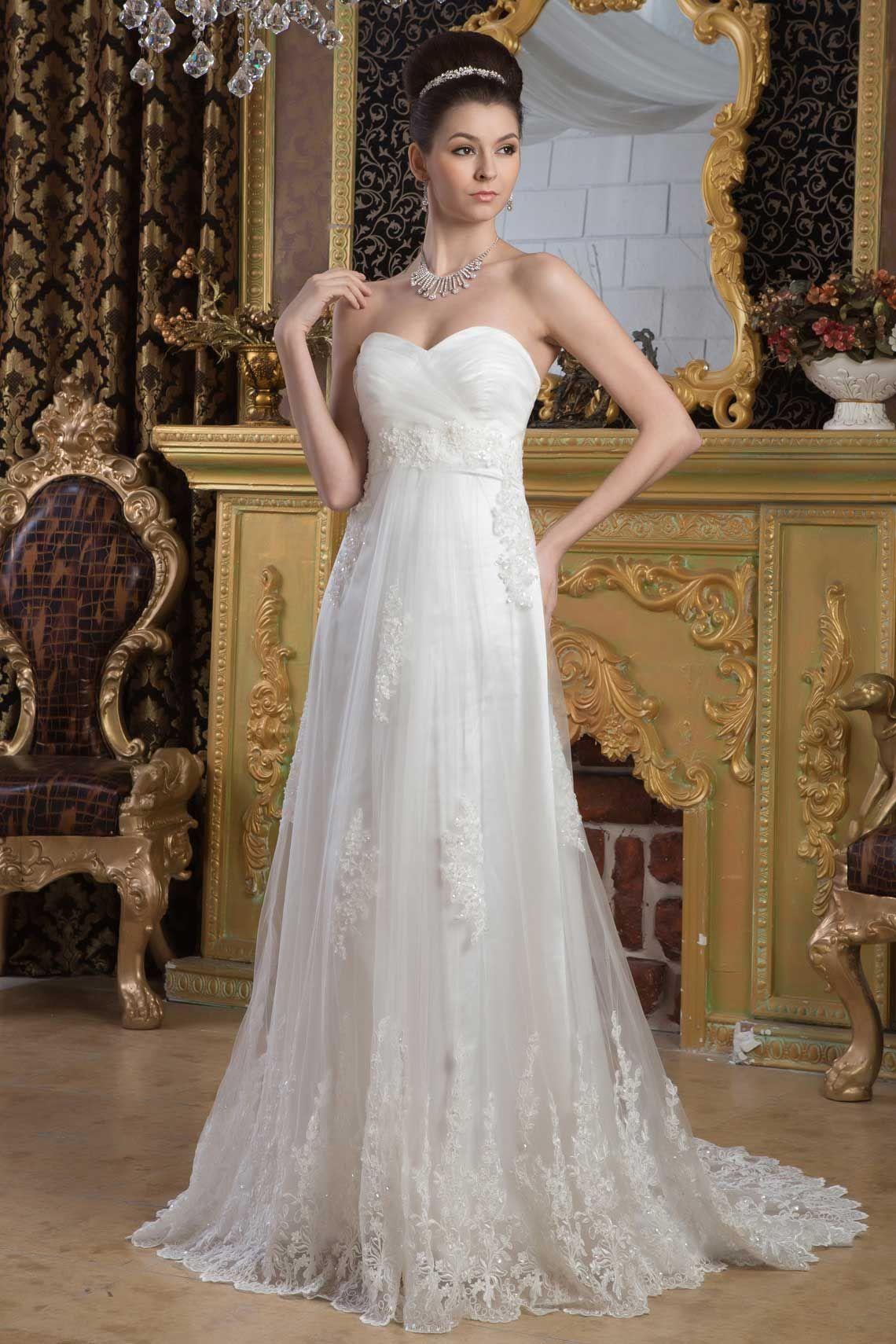 A-line Tulle Sweetheart Empire Court Train Zipper Sleeveless Appliques Beading Wedding Dress