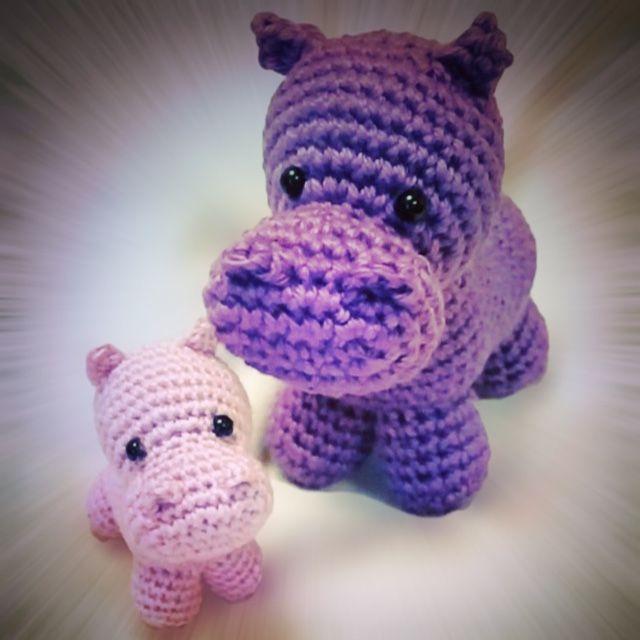 Freie Häkelanleitung: Nilpferd mit Baby – Flauscheinhorn #crochettoysanddolls
