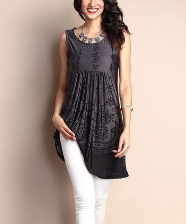 Look what I found on #zulily! Charcoal Scroll-Print Sleeveless Empire-Waist Tunic Dress #zulilyfinds