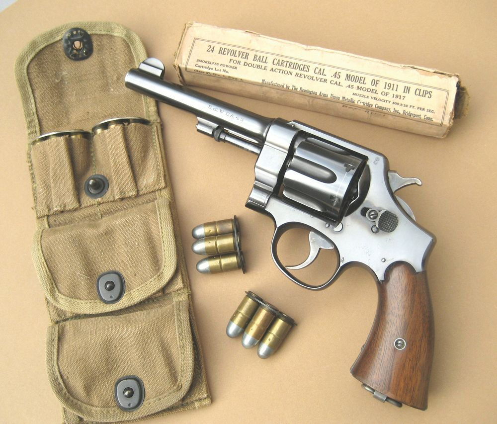 In WWI & II, factories couldn't turn out the 1911 auto pistol fast enough. Smith & Wesson & Colt both produced this revolver that used the 45 acp cartridge. Just like the 1911, this revolver is still a viable self defense weapon a hundred yrs after being introduced.