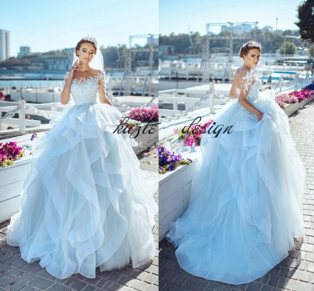 Delicate Ball Gown Fairy Wedding Dresses Sheer Neck long Sleeves ...