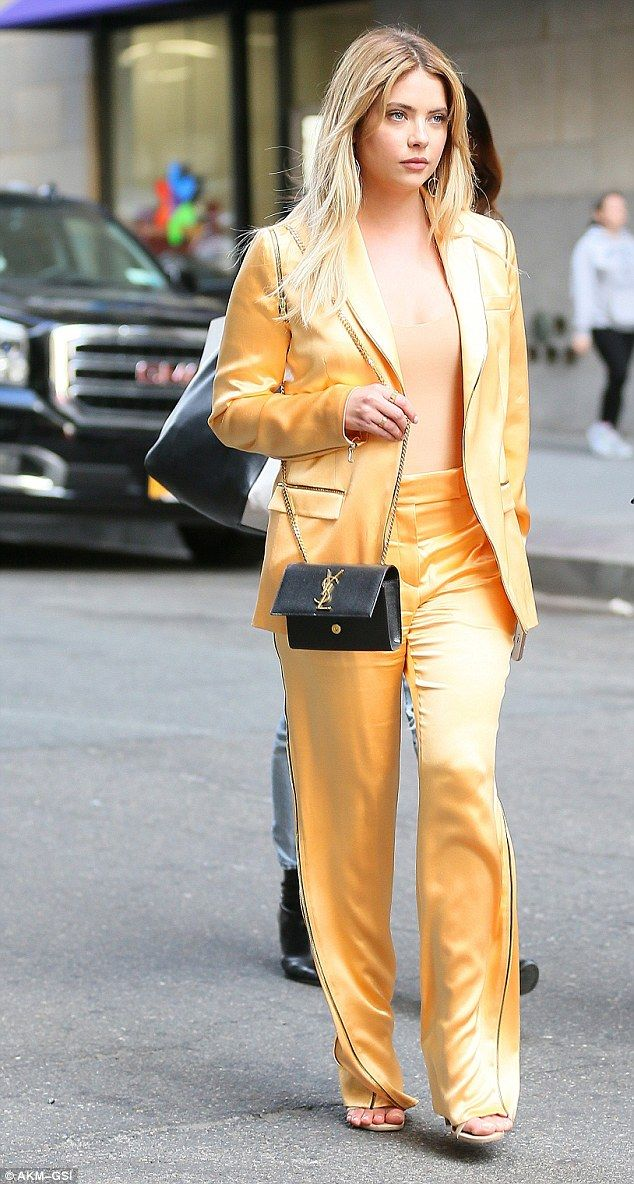 e16e822a523 Ashley Benson stands out in New York in orange satin suit and nude top