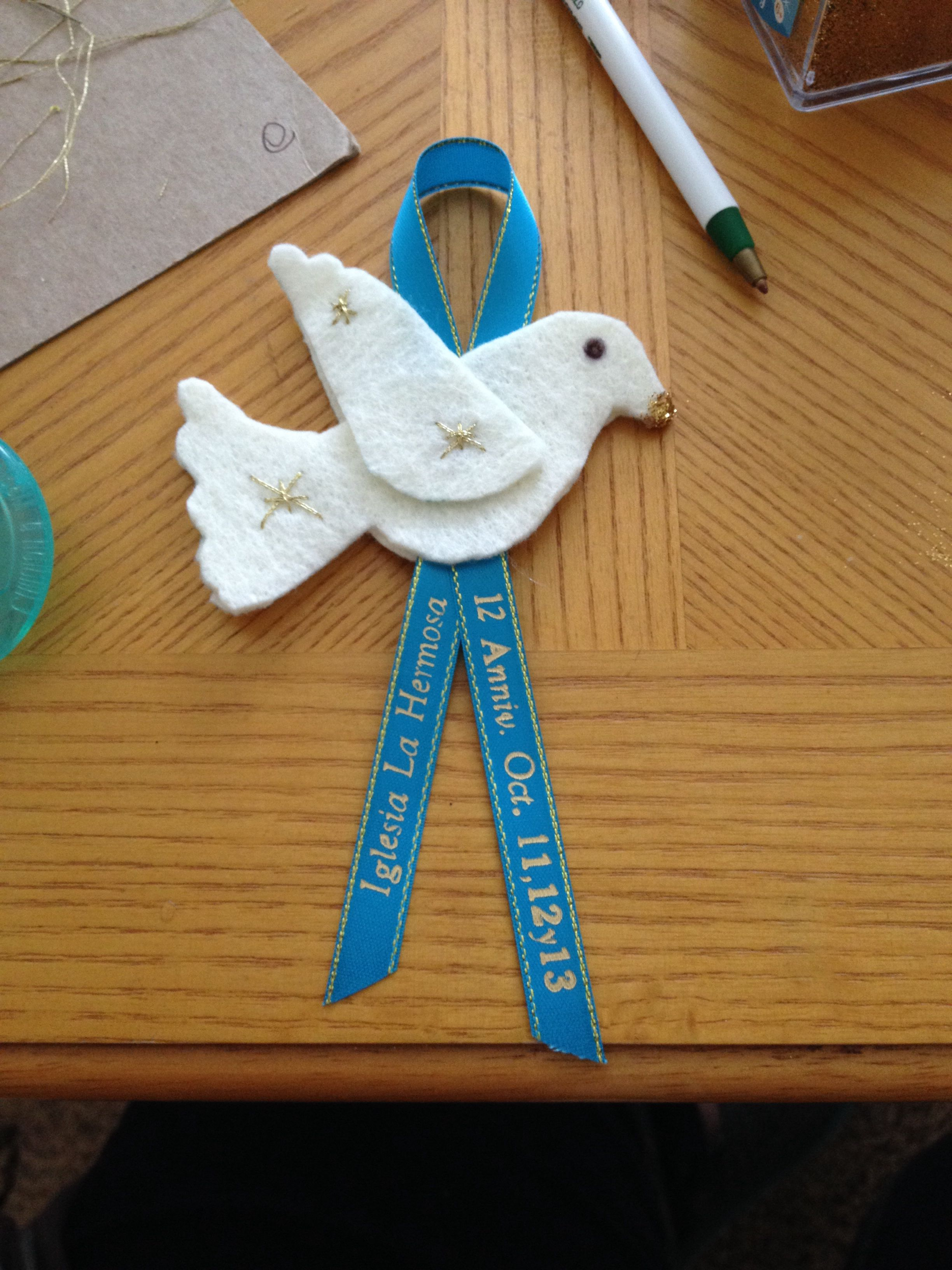 church anniversary favors dove turquoise printed ribbon family