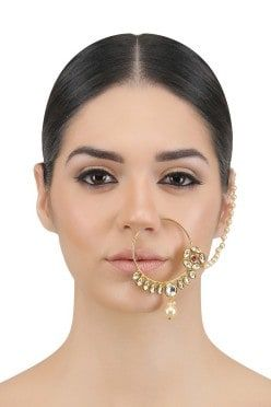 OPALINA  Gold Finish Kundan and Pearl Line Nath/Nosering