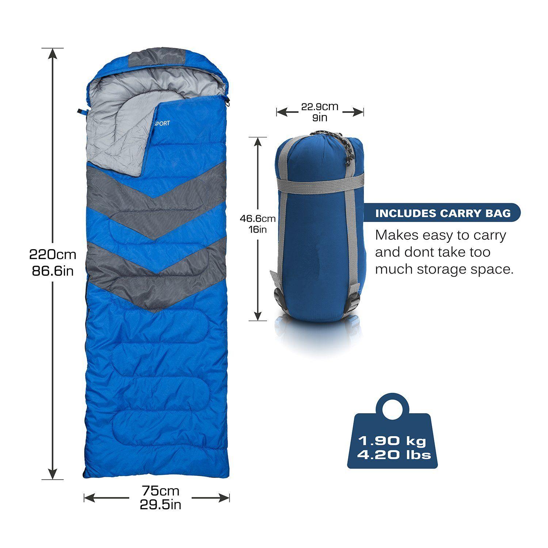 4 Season Single Envelope Sleeping Bag Waterproof Camping Hiking Travel Blue