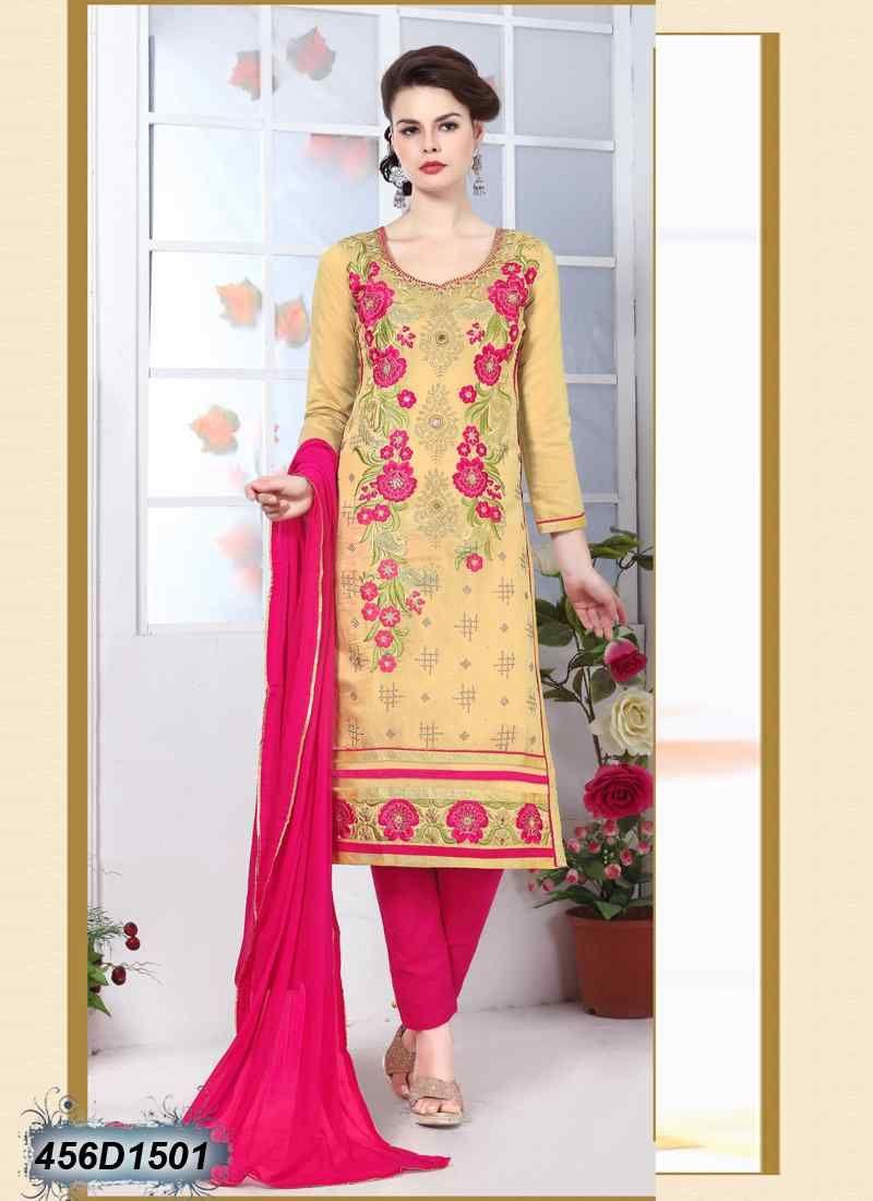 696dedd9a8 Aesthetic Cream Coloured Glace Cotton unstitched salwar suit ...