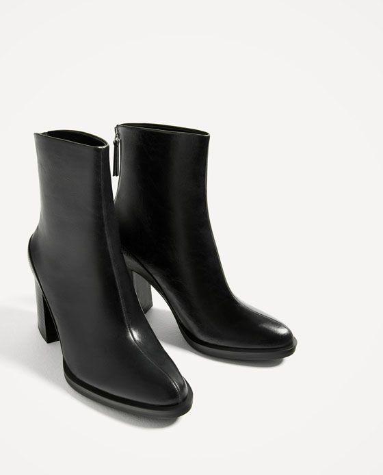 Sitio web oficial Zara Botín negro tacón ancho Zapatos de