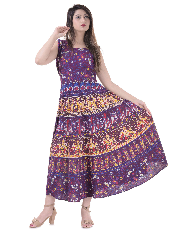 Hippie Blue Peacock Beach Wear Ethnic 100/% Cotton Summer Wear Designer Beautiful Dress Long Wrap Skirt Indian Mandala Handmade Dress