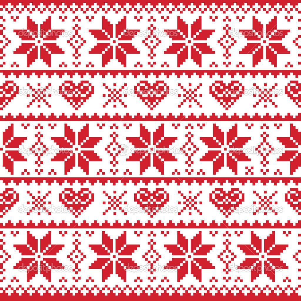 CHRISTMAS PATTERN PRINT, RED SNOWFLAKES AND HEARTS