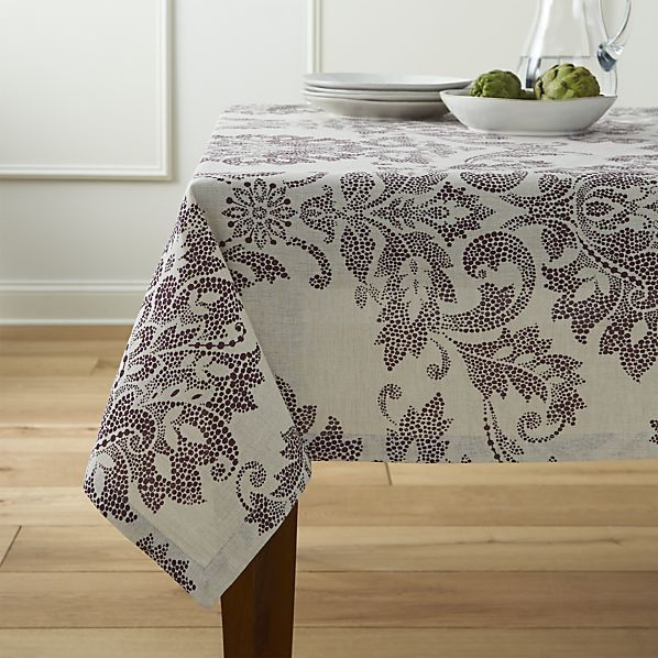 Lucia 90 Round Tablecloth Table Cloth Crate And Barrel Barrel