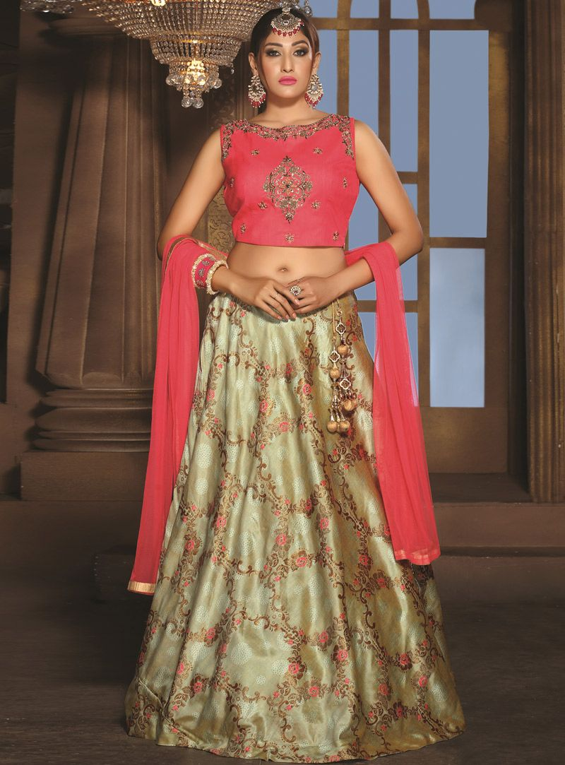 60d6ff0c8c Buy Beige Banarasi A Line Lehenga Choli 149321 online at best price from  vast collection of Lehenga Choli and Chaniya Choli at Indianclothstore.com.