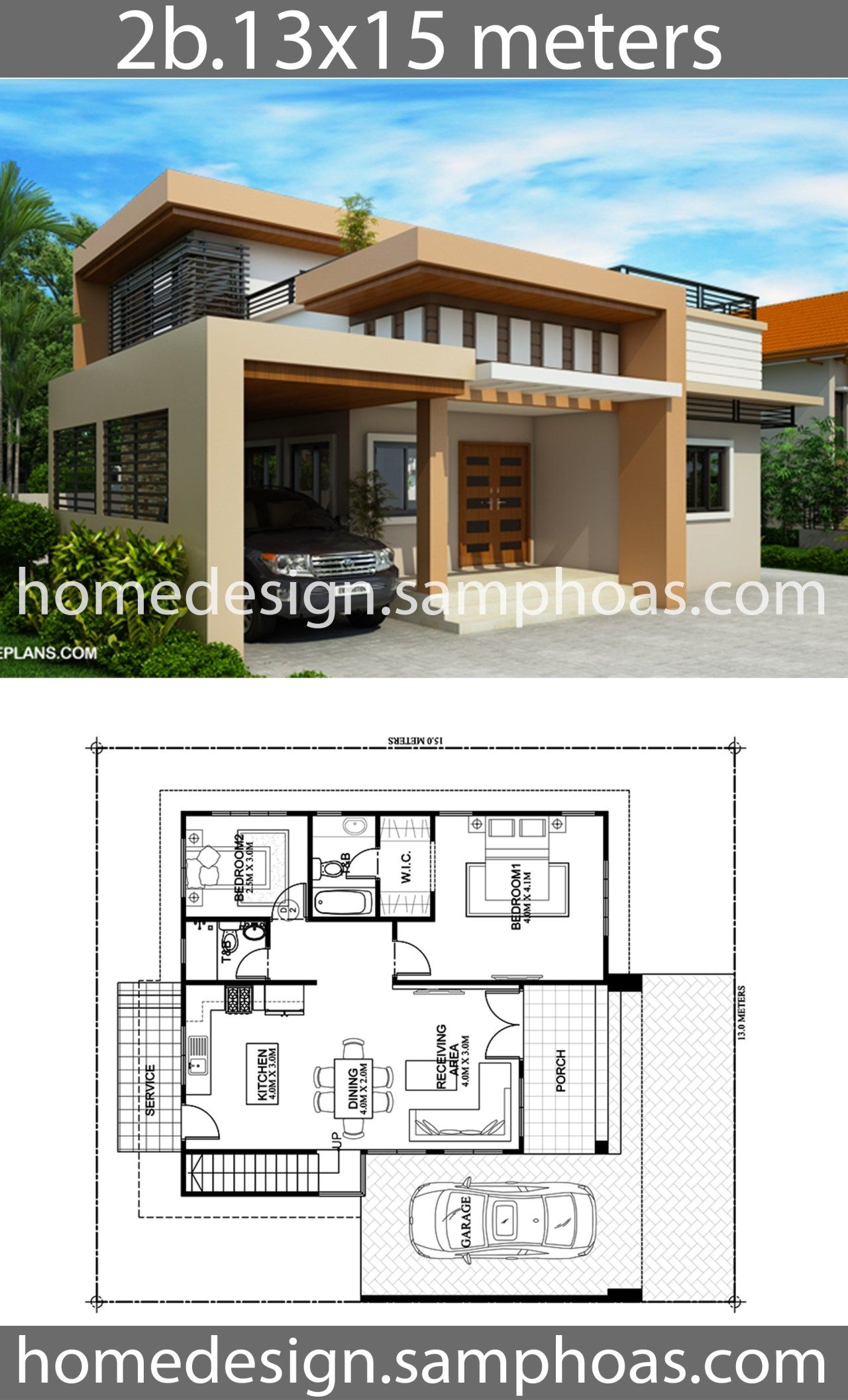 One Story House Plans 13x15m With 2 Bedrooms Home Ideas House Plans Story House House