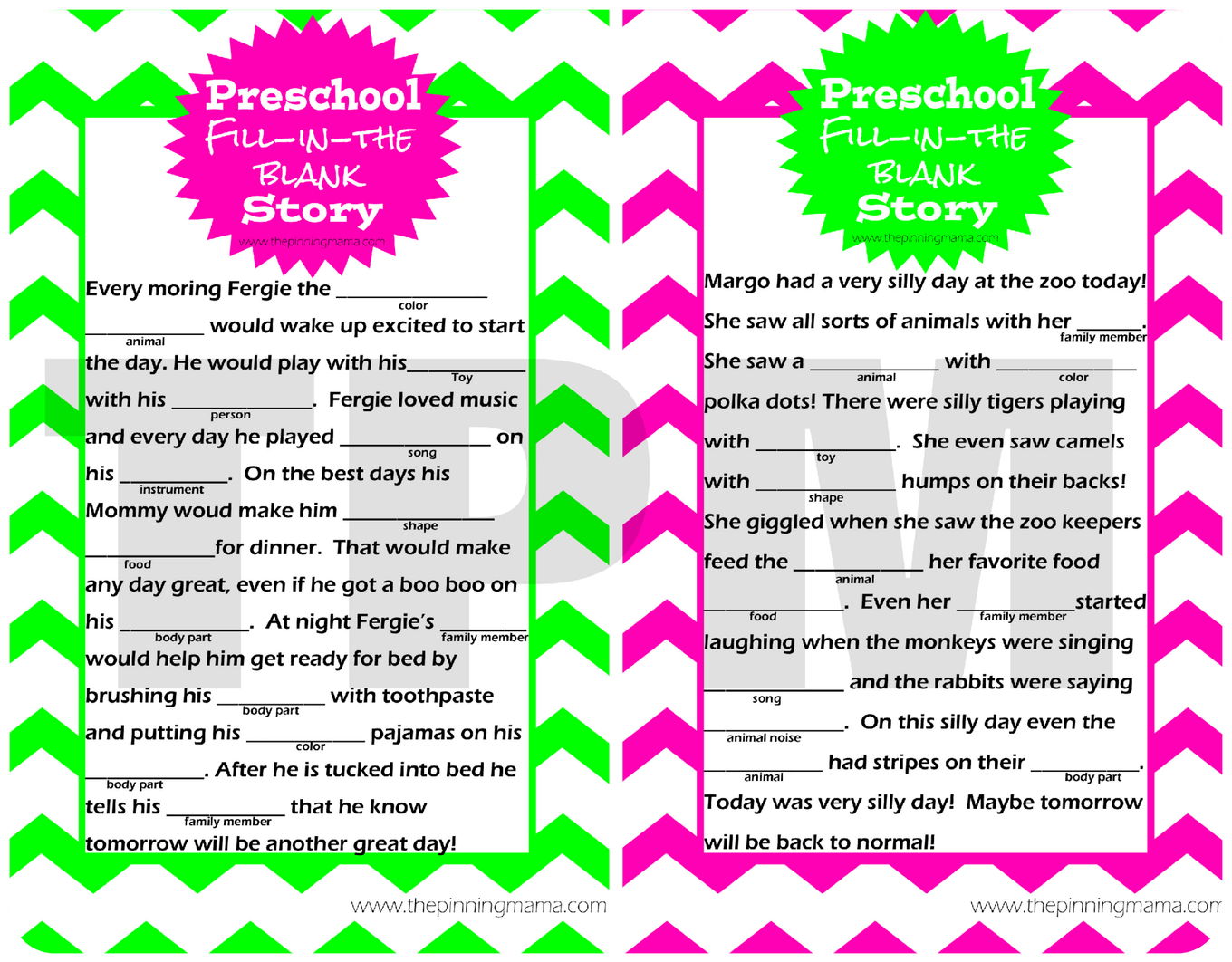 Mad Libs Style Story For Preschoolers By
