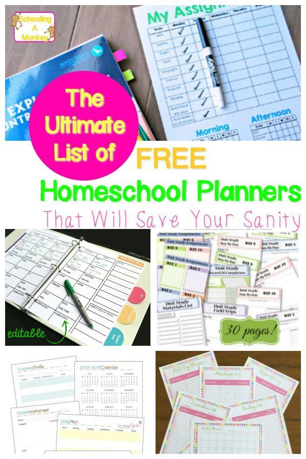 The Ultimate List of Quality FREE Printable Homeschool Planners ...